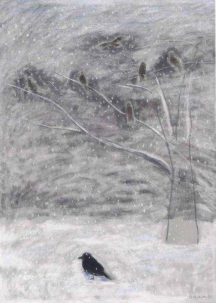 雪の中の鳥たち