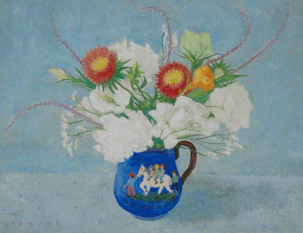 青いジャグの花々
