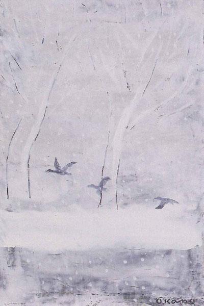 雪の中の飛翔