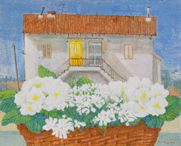窓辺の花籠