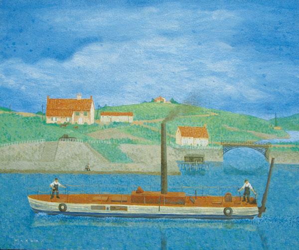 川を行く蒸気船