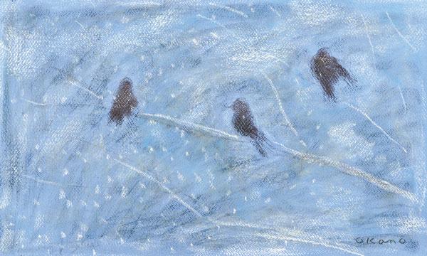 雪の中の鳥
