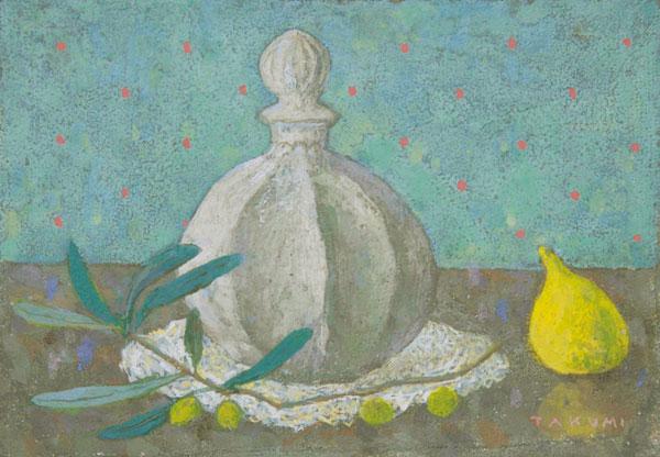 オリーブと薬瓶