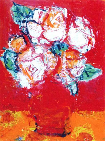 赤いバックのバラ