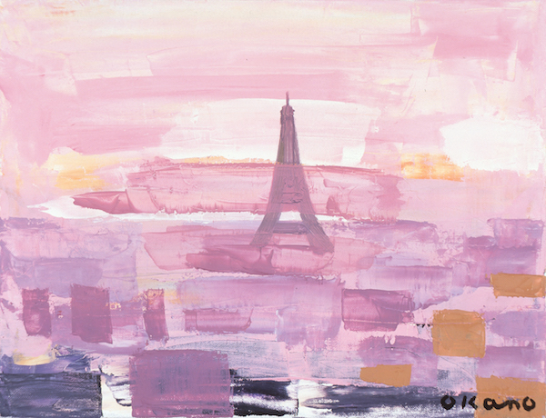 ピンク色の中のエッフェル塔