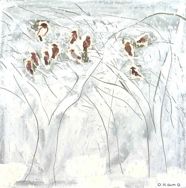 冬の木立、鳥