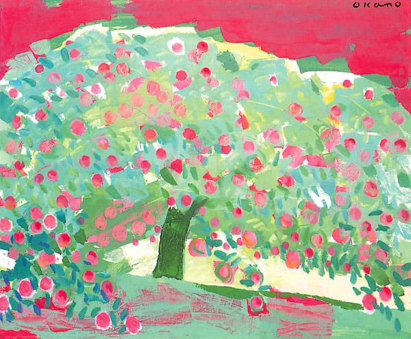 赤いりんごの木