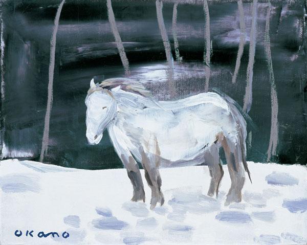 風に向かう馬