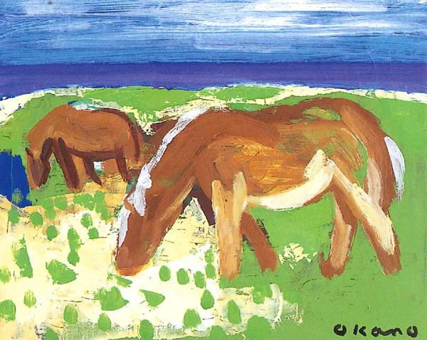北の夏、草を喰む馬