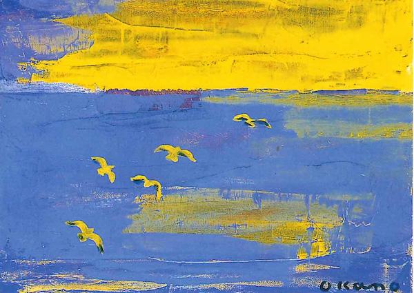 黄色に染まる鳥