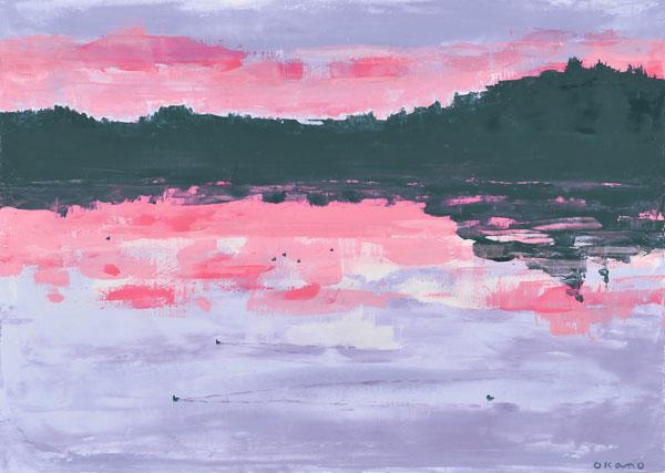 夕べの湖畔